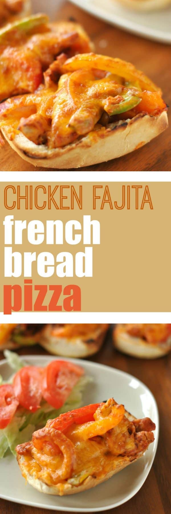 Individual French Bread Pizzas made with Tyson Southwest Pepper Chicken Breasts. Fajitas on a pizza are a perfect match!