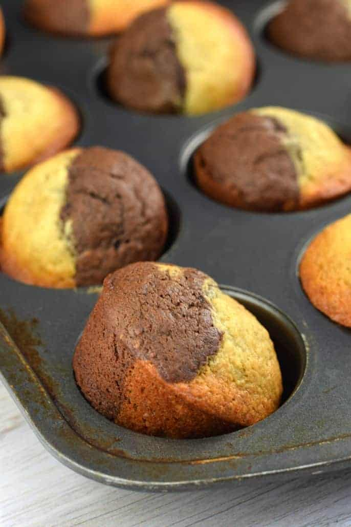 Chocolate and Banana in one tasty bite! These Muffins are delicious slathered with Nutella or creamy butter.