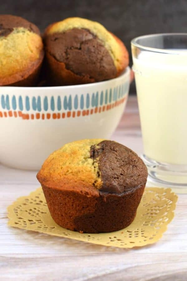 Chocolate and Banana in one tasty bite! These Chocolate Banana Muffins are delicious and freezer friendly.