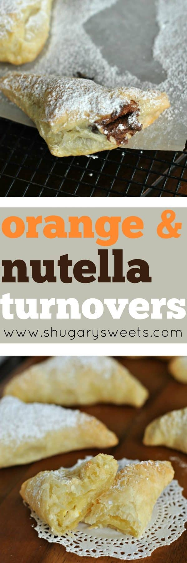 These turnovers are made super simple by using Pepperidge Farm Puff Pastry! Half are made with Nutella and the other half are made with a Creamy Orange Cheesecake filling! You decide your favorite.