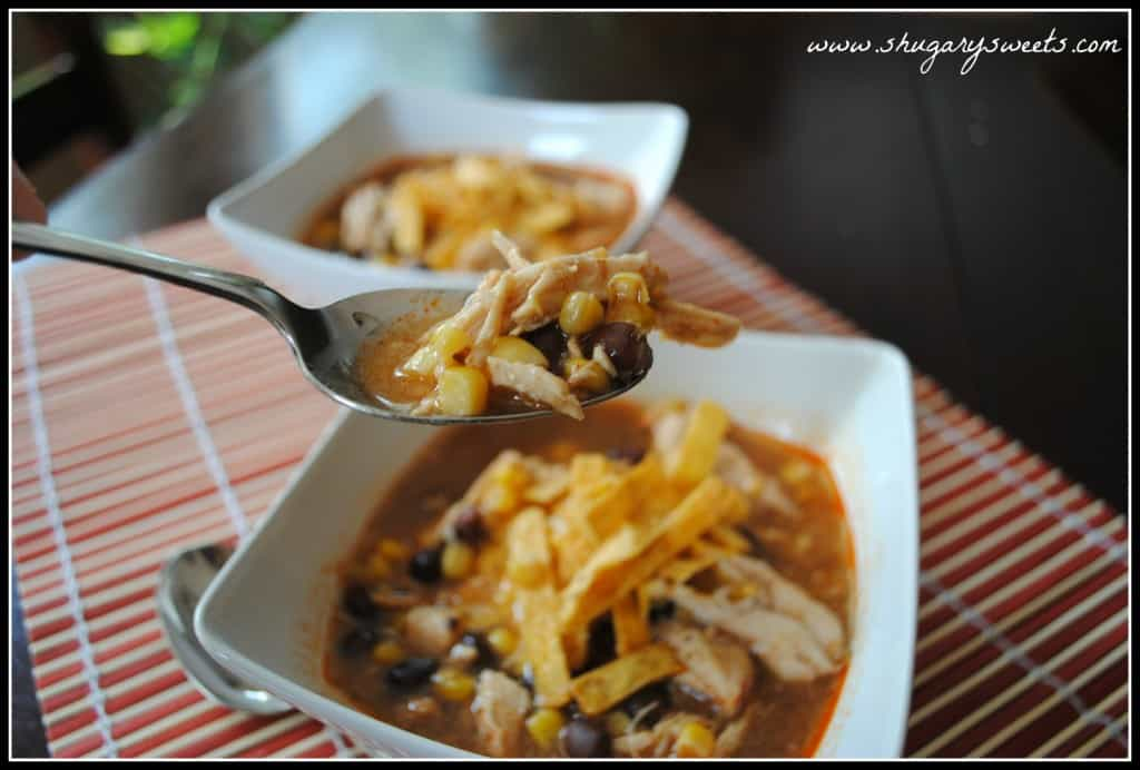 Slow Cooker Chicken Enchilada Soup from shugarysweets.com