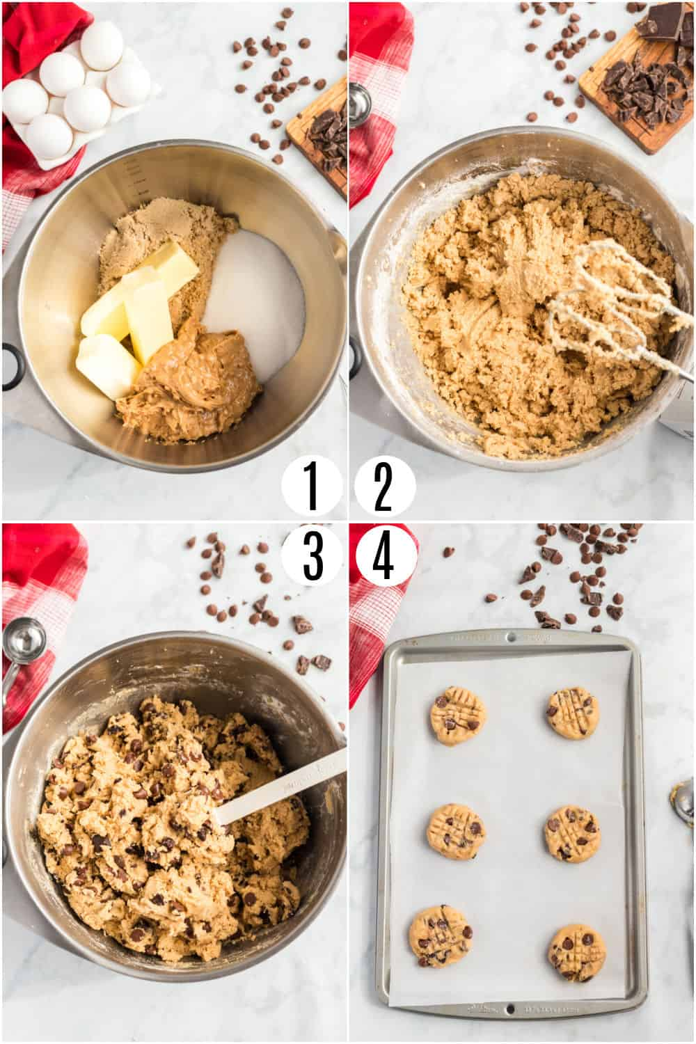 Step by step photos showing how to make peanut butter chocolate chip cookies.