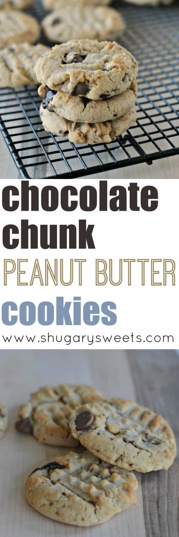 Chunky Peanut Butter cookie recipe filled with Chocolate Chunks! Time to indulge on some delicious cookies!