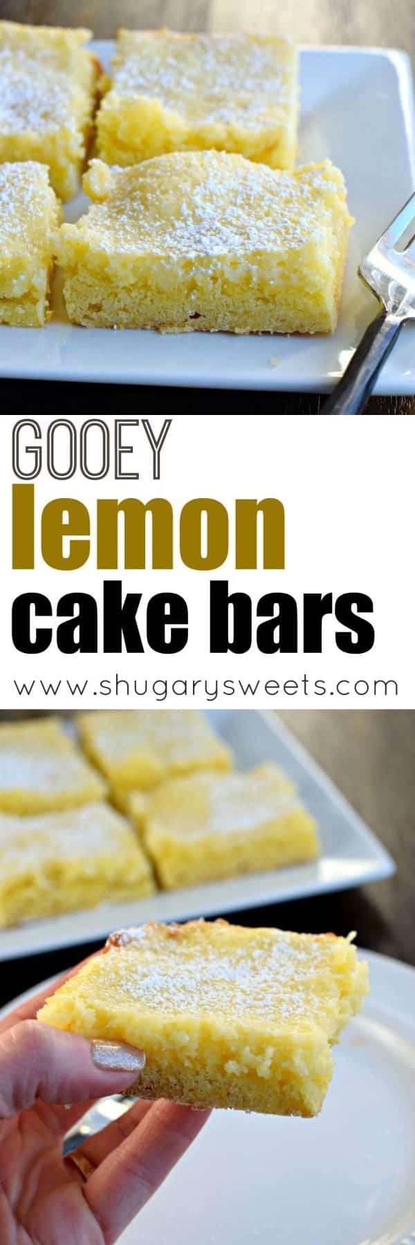 Gooey Lemon Cake Bar photo collage