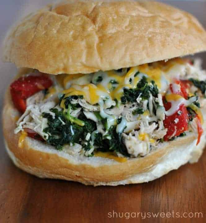 Slow Cooker Italian Chicken Sandwiches - Shugary Sweets