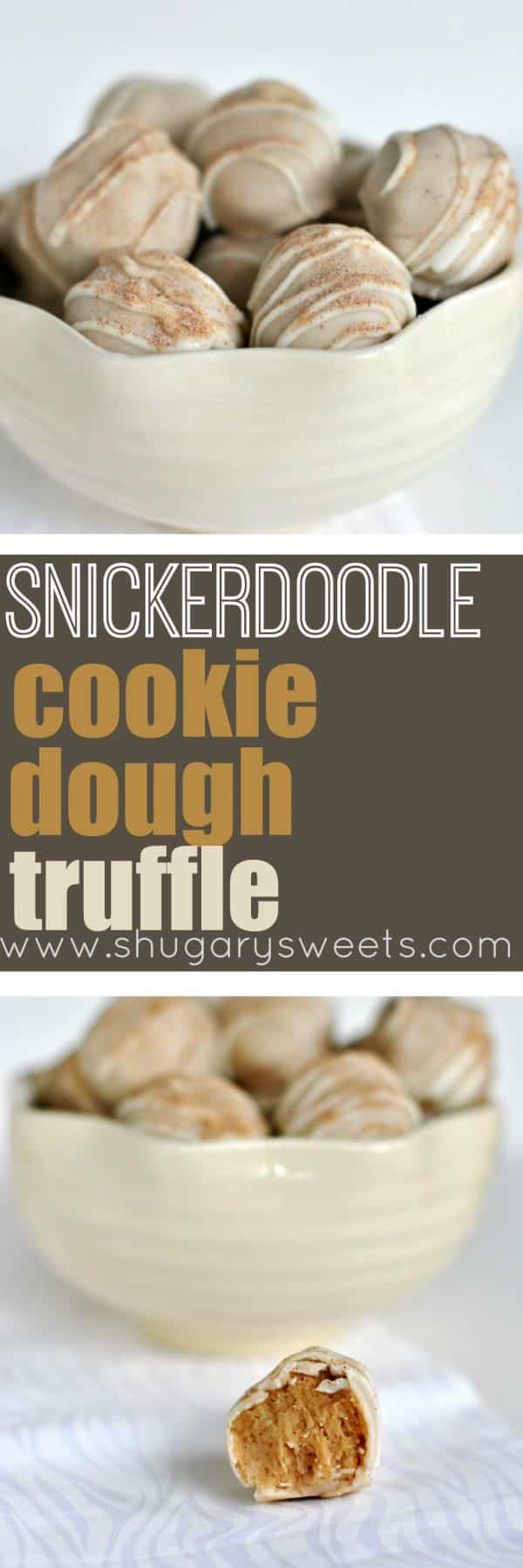 Snickerdoodle Cookie Dough Truffles: I've turned your classic childhood cookie into a no-egg truffle with a cinnamon coating!