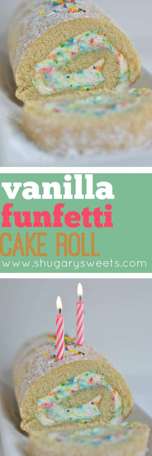 Delicious Vanilla Sponge Cake Roll with homemade Funfetti Whipped Cream filling. Perfect summer dessert!
