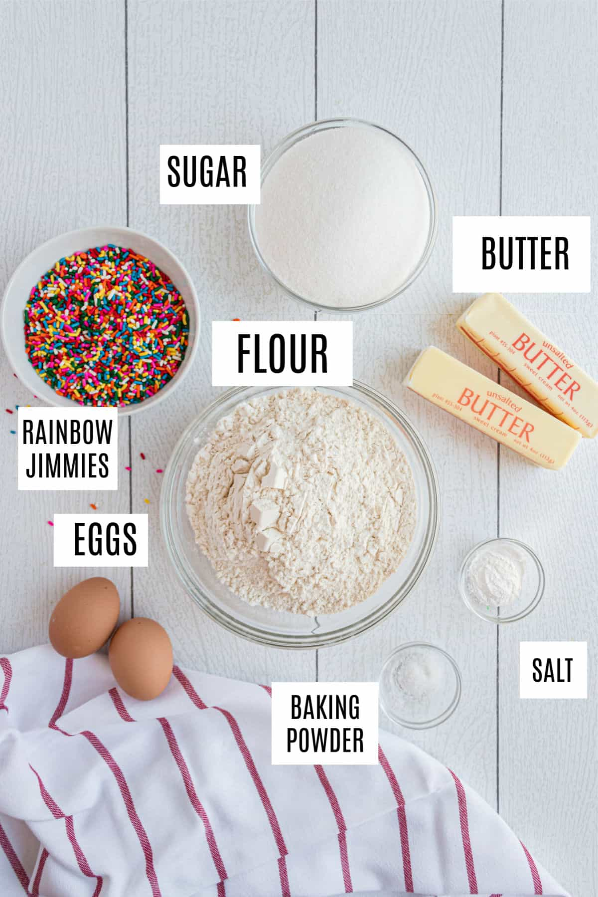 Ingredients needed to make funfetti cookies, including colorful sprinkles.