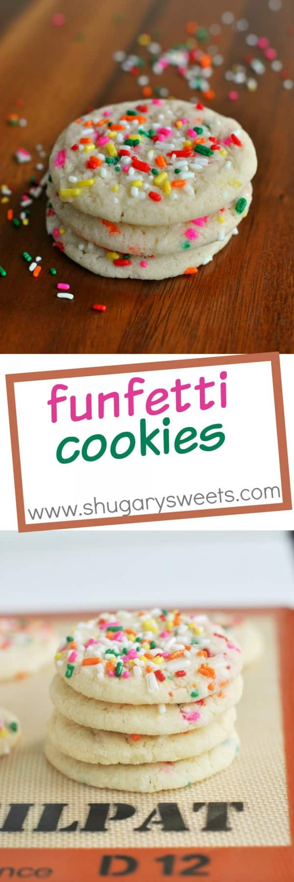 Funfetti Cookies: from scratch, soft and chewy sugar cookies filled with sprinkles