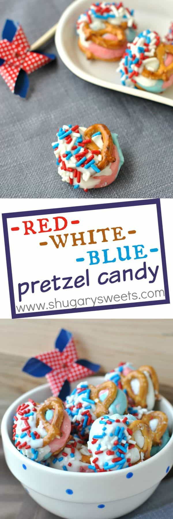 Need a fun snack to bring to a 4th of July celebration? These Red, White and Blue Pretzels are delicious. Use gelatin powder to give fun flavors and color to these fun candies!