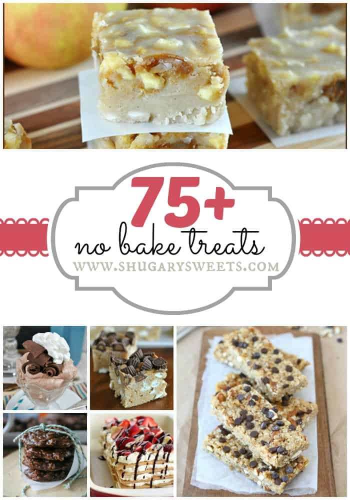 75+ No Bake Desserts: from fudge to krispie treats to no bake cookies. Come see all the delicious goodies in one place!