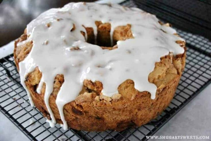 Delicious and moist, this cake is filled with apples, cinnamon and nuts! It's a great addition to any brunch, or just enjoy with a cup of coffee on Saturday morning!
