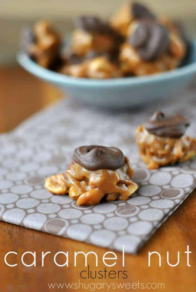 Caramel Nut Clusters candy on brown linen.
