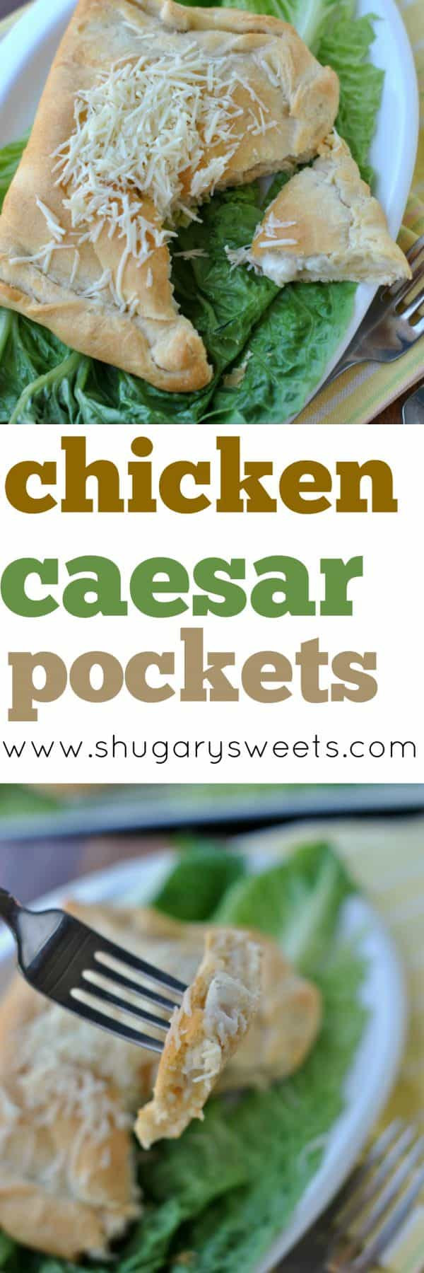 Chicken Caesar pockets are your delicious dinner solution! Made with Pillsbury Crescent rolls, this dinner comes together in under 30 minutes!