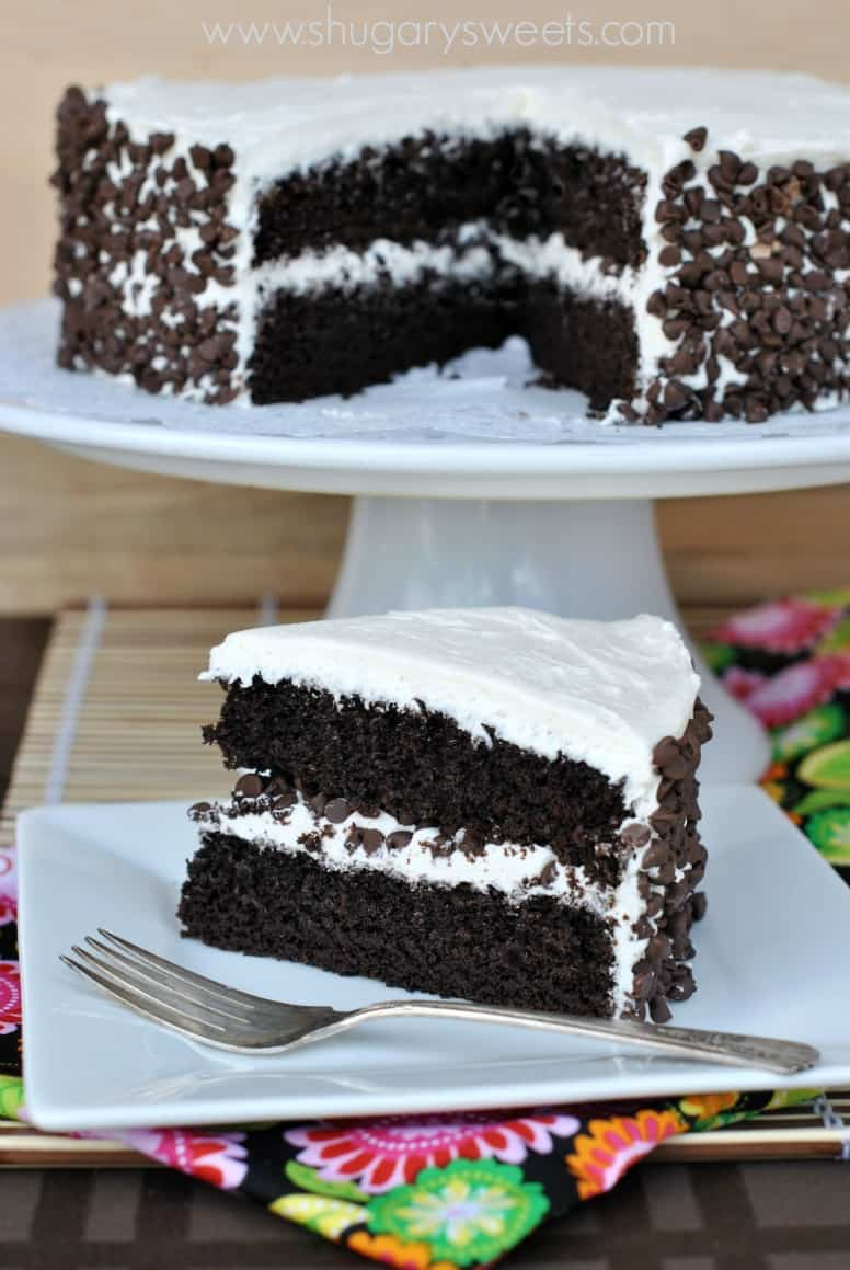 Dark Chocolate Cake with Vanilla Frosting - Shugary Sweets