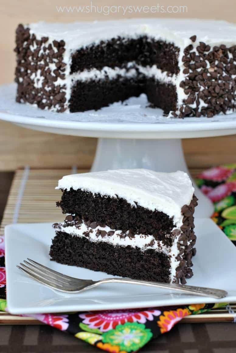 Images Of Chocolate Vanilla Cake : Dark Chocolate Cake with Vanilla Frosting - Shugary Sweets