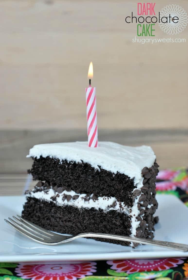 Dark Chocolate Cake With Vanilla Frosting Shugary Sweets