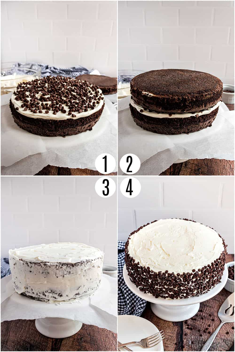 Step by step photos showing how to frost a chocolate cake with vanilla frosting.