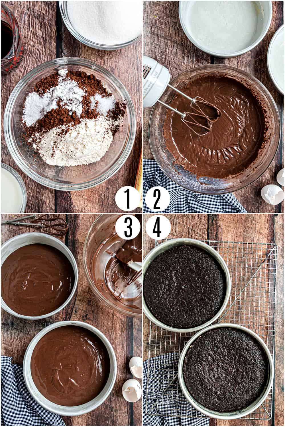 Step by step photos showing how to make chocolate cake from scratch.