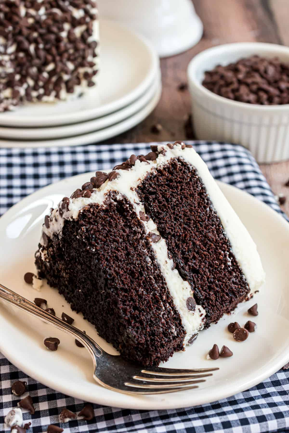 Slice of dark chocolate layer cake with vanilla frosting and chocolate chips.
