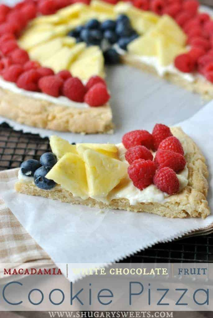 Macadamia Nut Cookie PIzza with Fruit: soft and chewy macadamia cookie topped with #PHILADELPHIA #SnackDelights and fresh fruit! YUM!