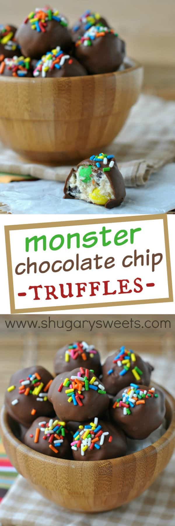 Monster cookie dough truffles: delicious, easy bites of monster cookie dough (egg-free). No bake summer dessert!