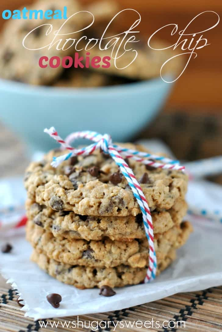 Stack of 4 Oatmeal Chocolate chip cookies wrapped with red, white and blue twine.