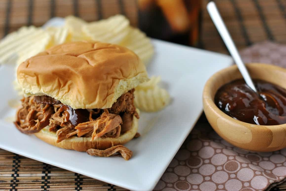 Pulled pork on a bun with a side of bbq sauce.
