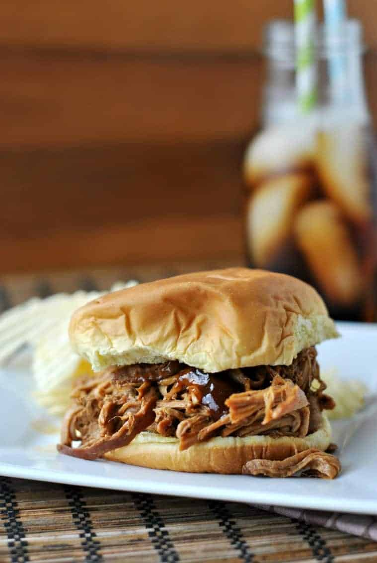 Pulled pork with bbq sauce on a bun.