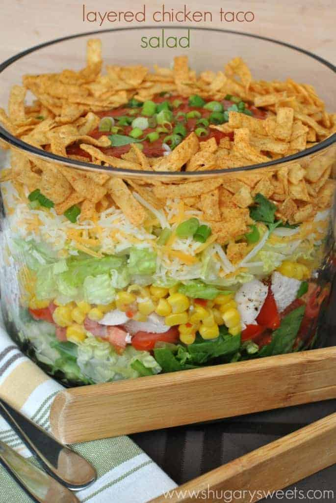 Layered Chicken Taco Salad: a delicious layered salad that