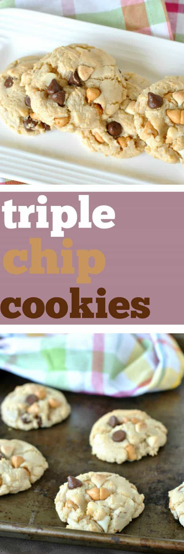 Chewy Triple Chip Cookies filled with butterscotch, white chocolate and semi-sweet chocolate morsels! Perfect for school lunches, afternoon snacks and dessert. Keeps well in freezer too!