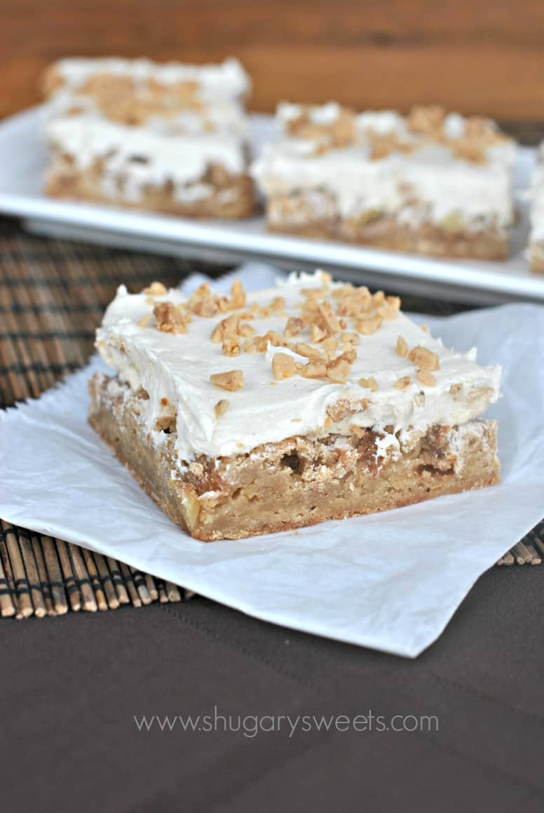 Apple brownie bar with frosting.