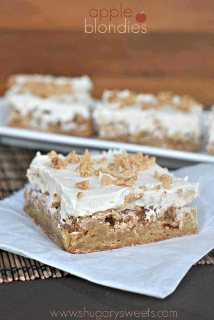 Apple Blondies: Chewy apple blondies topped with a caramel buttercream and toffee bits