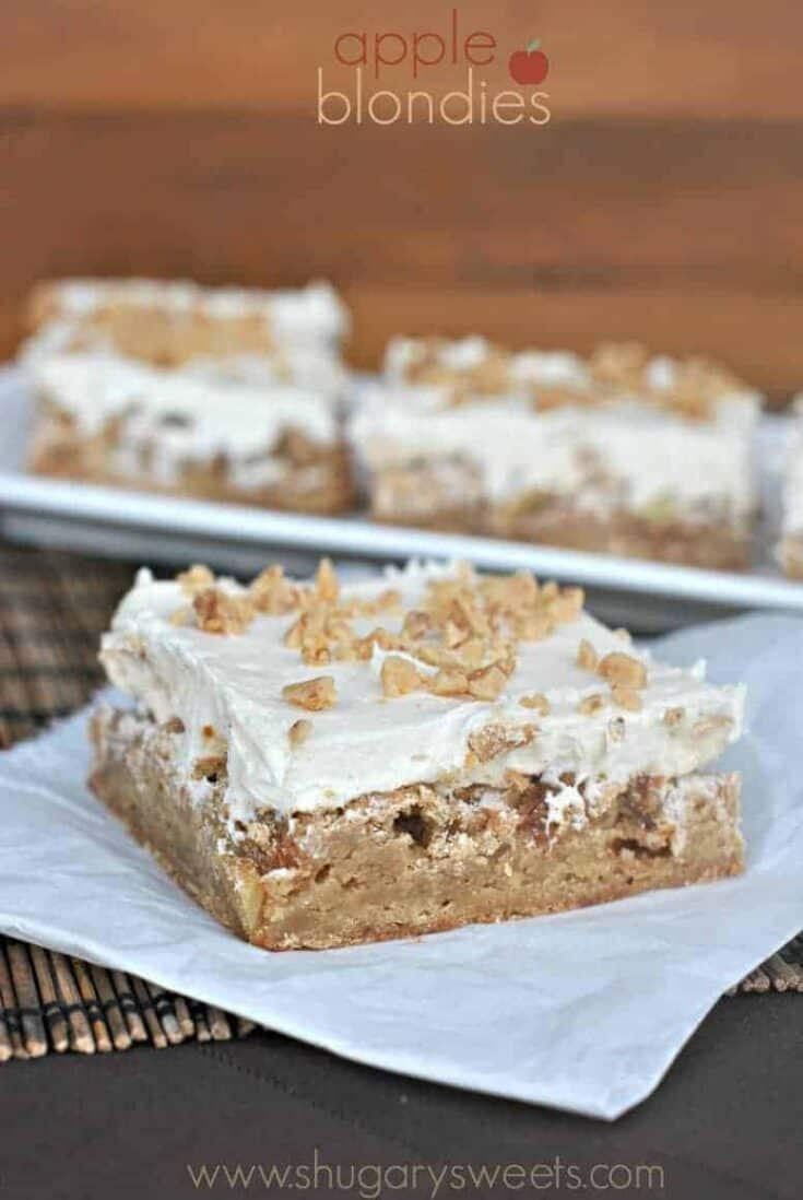 Chewy Apple Blondies topped with a Caramel Buttercream and Toffee bits. One of my favorite Apple desserts!