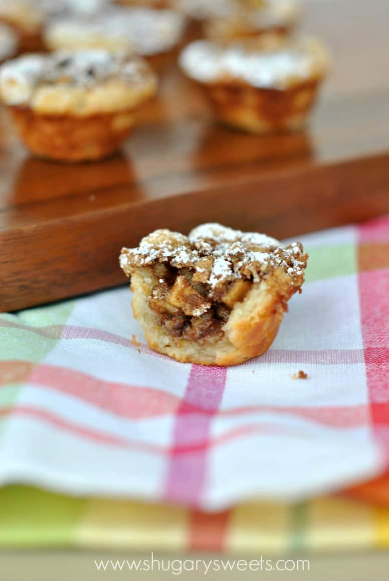 Apple Pecan Cups with a bite removed.