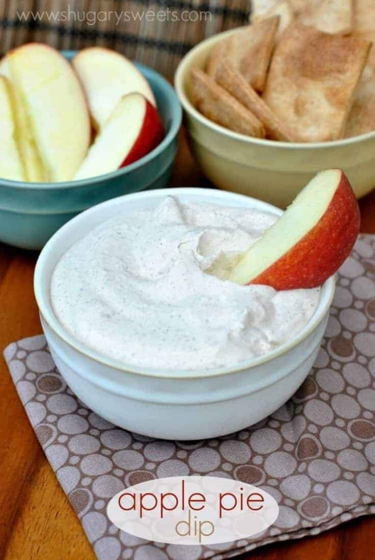 Creamy Apple Pie Dip made with greek yogurt and apple butter (and more!). I'll be serving this at all our get togethers this Fall!