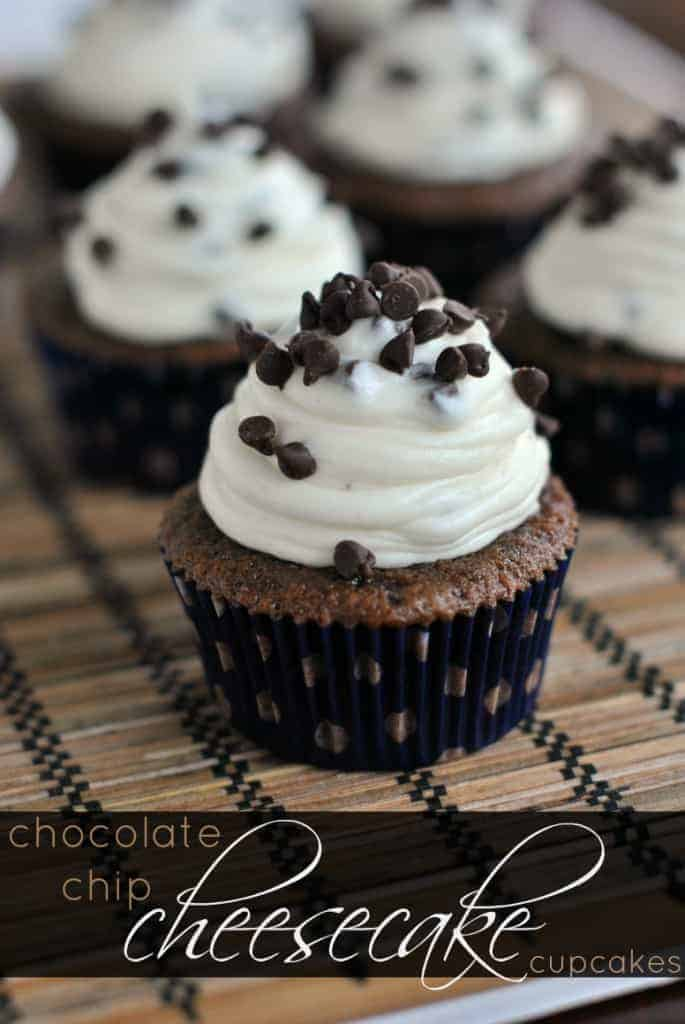 Chocolate cupcakes topped with a Chocolate Chip Cheesecake frosting. Topped with extra mini morsels...DIVINE!