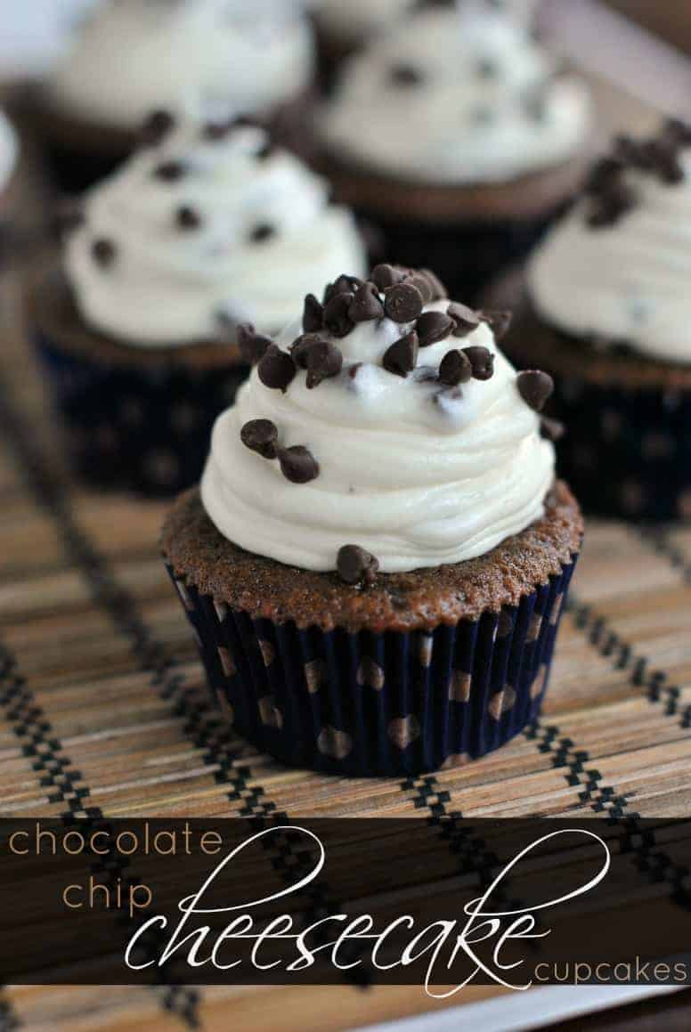 Chocolate Cupcakes topped with Chocolate Chip Cheesecake Frosting