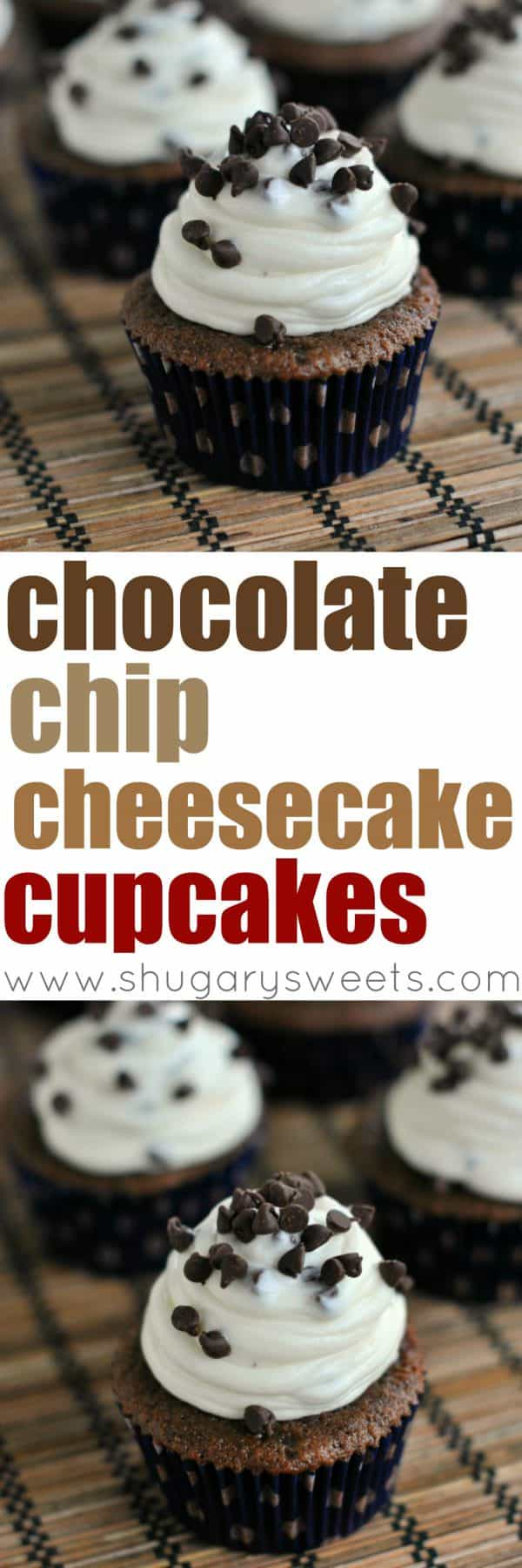Rich Chocolate Cupcakes topped with a creamy Chocolate Chip Cheesecake frosting! Decadent, from scratch, and delicious!
