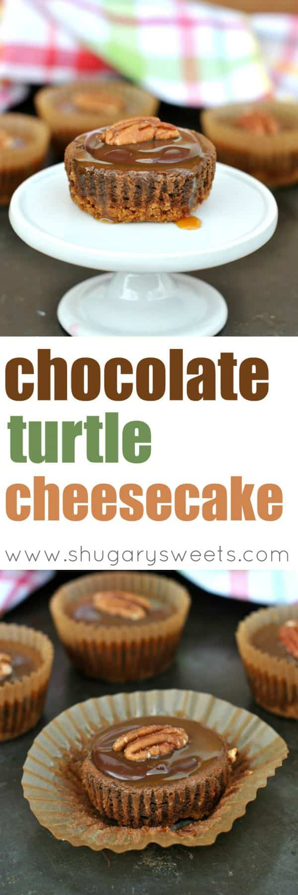 Rich, chocolate Cheesecakes topped with a milk chocolate ganache, caramel, and pecans! Next time you crave Cheesecake, try this Chocolate Turtle version!