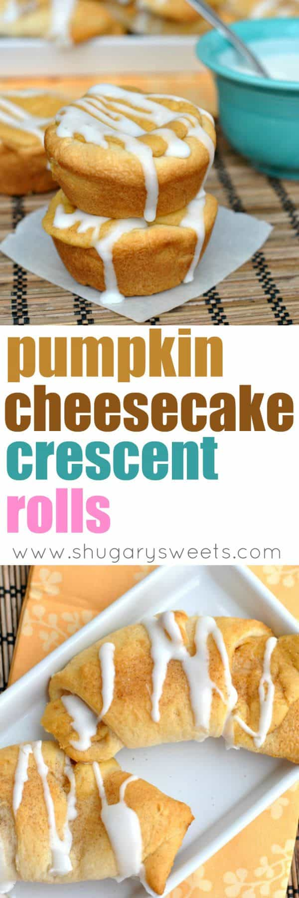 Fall is here and so are the Pumpkin recipes! These Pumpkin Cheesecake Crescent Rolls are the perfect breakfast on a chilly morning. Don't forget the cream cheese glaze!