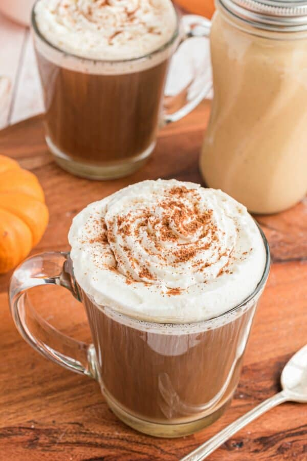 Pumpkin spice creamer topped with whipped cream.