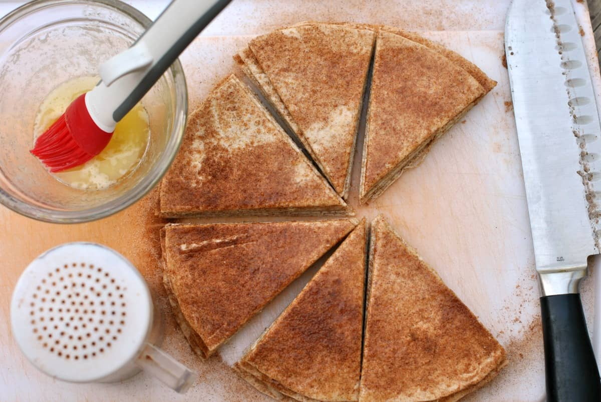 Tortillas topped with melted butter and cinnamon sugar. Cut into wedges,