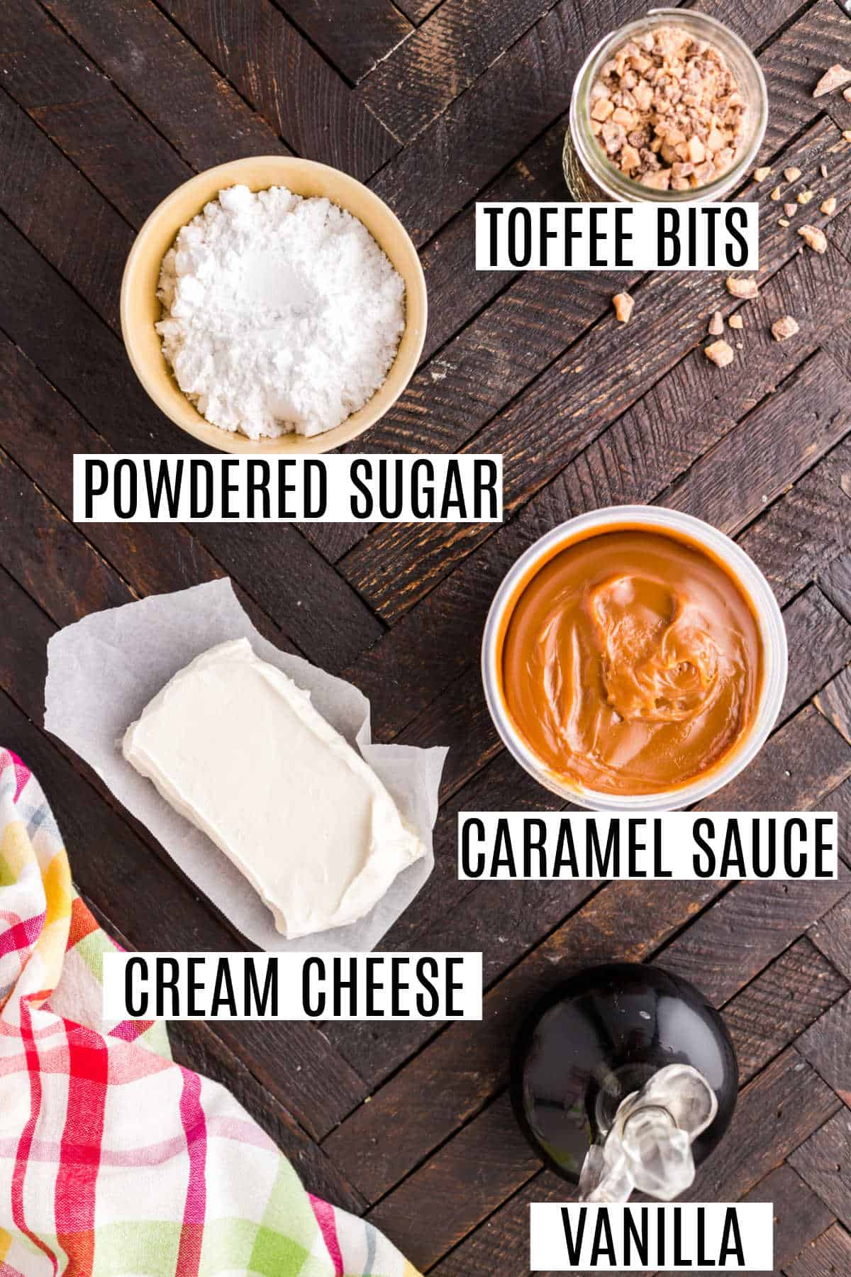 Ingredients needed for caramel apple dip.