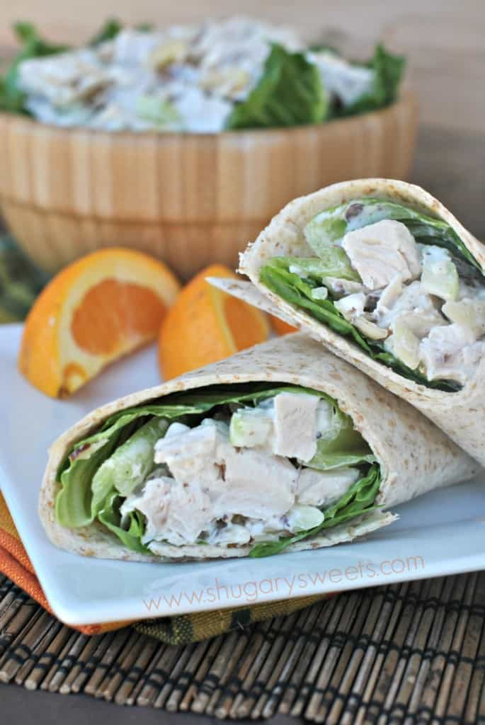 Chicken Salad Wrap: easy to put together chicken salad recipe served on a whole wheat tortilla!
