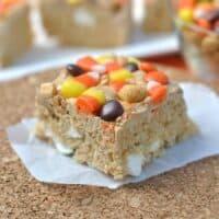 Peanut Butter Candy Corn Krispie Treats