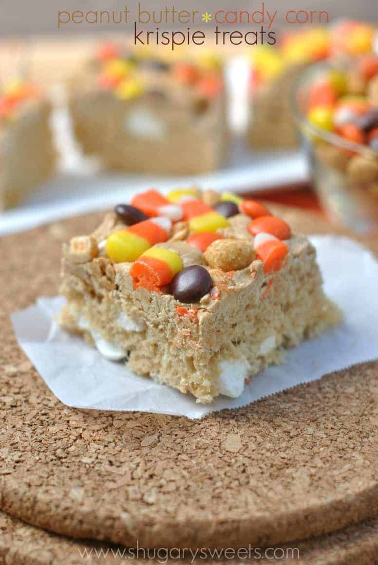 treats topped with candy corn peanuts and reese s pieces