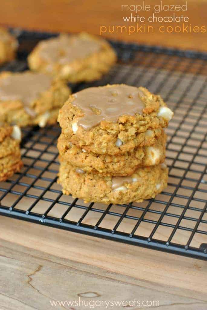 Chewy Pumpkin Oatmeal Cookies with White Chocolate Morsels and Maple Glaze