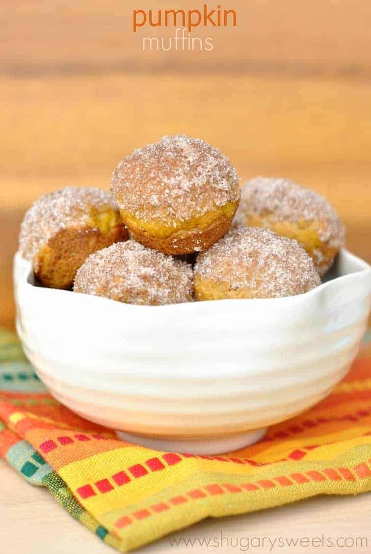 Pumpkin Donut Muffins: bite sized pumpkin muffins topped with a ...