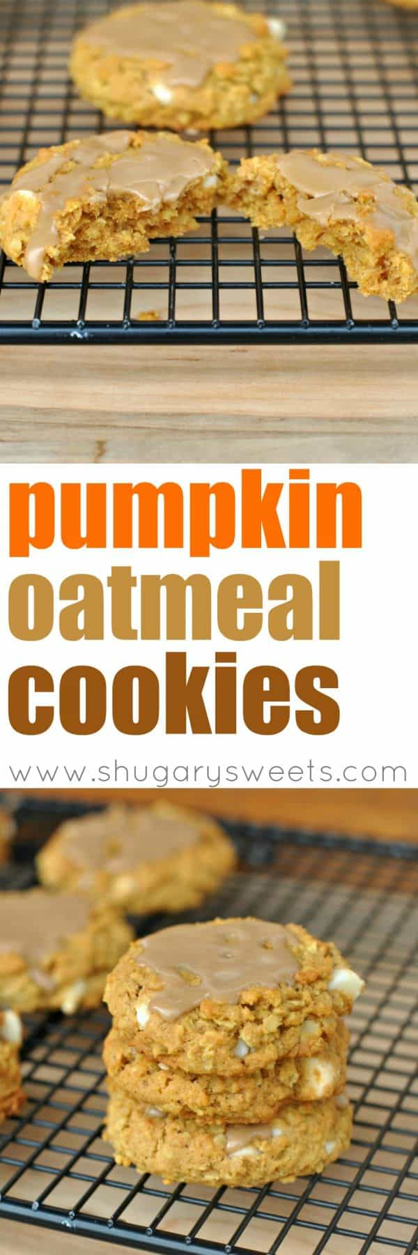 Chewy Pumpkin Oatmeal Cookies with White Chocolate Morsels and Maple Glaze.